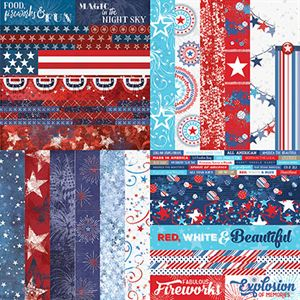 """Picture of Red, White, & Beautiful by Katie Pertiet 2"""" Border Strips - Set 12"""